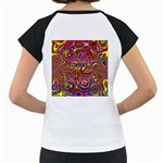 Abstract Shimmering Multicolor Swirly Women s Cap Sleeve T Back