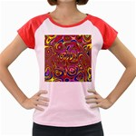 Abstract Shimmering Multicolor Swirly Women s Cap Sleeve T-Shirt Front