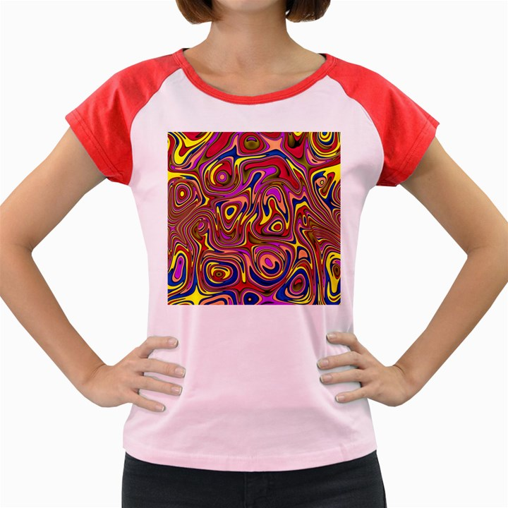 Abstract Shimmering Multicolor Swirly Women s Cap Sleeve T-Shirt