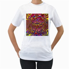 Abstract Shimmering Multicolor Swirly Women s T Shirt (white) (two Sided)