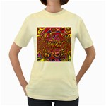 Abstract Shimmering Multicolor Swirly Women s Yellow T-Shirt Front