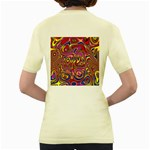 Abstract Shimmering Multicolor Swirly Women s Yellow T-Shirt Back