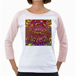 Abstract Shimmering Multicolor Swirly Girly Raglans Front