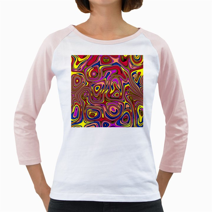 Abstract Shimmering Multicolor Swirly Girly Raglans