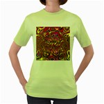 Abstract Shimmering Multicolor Swirly Women s Green T-Shirt Front