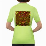 Abstract Shimmering Multicolor Swirly Women s Green T-Shirt Back