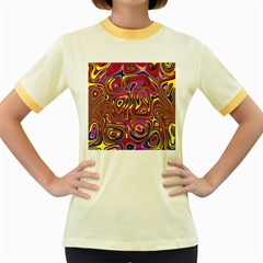 Abstract Shimmering Multicolor Swirly Women s Fitted Ringer T Shirts
