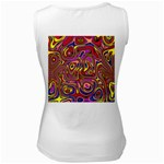Abstract Shimmering Multicolor Swirly Women s White Tank Top Back