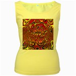 Abstract Shimmering Multicolor Swirly Women s Yellow Tank Top Front
