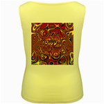 Abstract Shimmering Multicolor Swirly Women s Yellow Tank Top Back