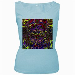Abstract Shimmering Multicolor Swirly Women s Baby Blue Tank Top