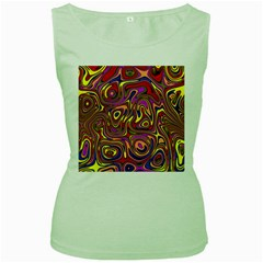 Abstract Shimmering Multicolor Swirly Women s Green Tank Top