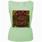 Abstract Shimmering Multicolor Swirly Women s Green Tank Top Front