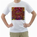 Abstract Shimmering Multicolor Swirly Men s T-Shirt (White) (Two Sided) Front