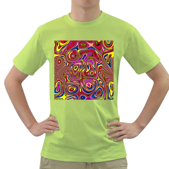 Abstract Shimmering Multicolor Swirly Green T-Shirt