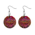 Abstract Shimmering Multicolor Swirly Mini Button Earrings Front