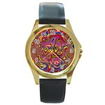 Abstract Shimmering Multicolor Swirly Round Gold Metal Watch Front