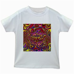 Abstract Shimmering Multicolor Swirly Kids White T Shirts
