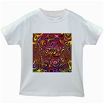 Abstract Shimmering Multicolor Swirly Kids White T-Shirts Front