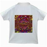 Abstract Shimmering Multicolor Swirly Kids White T-Shirts Back