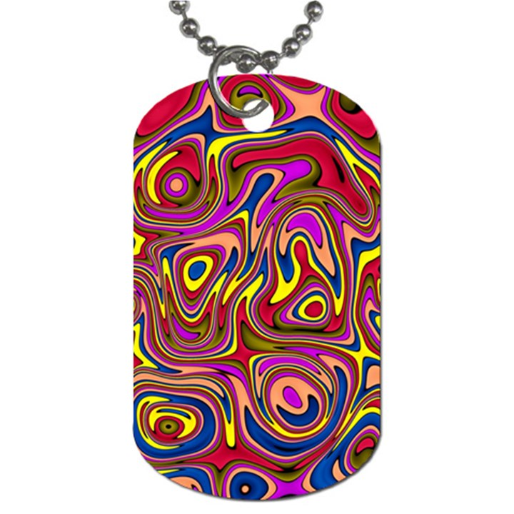 Abstract Shimmering Multicolor Swirly Dog Tag (One Side)
