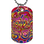 Abstract Shimmering Multicolor Swirly Dog Tag (Two Sides) Front