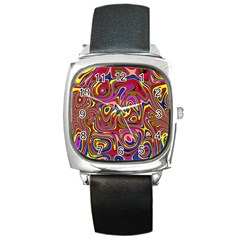 Abstract Shimmering Multicolor Swirly Square Metal Watch
