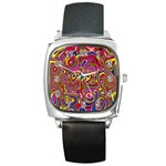 Abstract Shimmering Multicolor Swirly Square Metal Watch Front