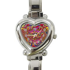 Abstract Shimmering Multicolor Swirly Heart Italian Charm Watch