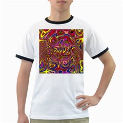 Abstract Shimmering Multicolor Swirly Ringer T Shirts