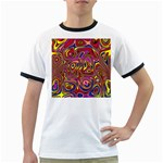 Abstract Shimmering Multicolor Swirly Ringer T-Shirts Front