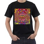 Abstract Shimmering Multicolor Swirly Men s T-Shirt (Black) (Two Sided) Front