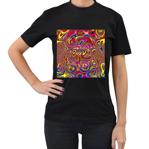 Abstract Shimmering Multicolor Swirly Women s T-Shirt (Black) (Two Sided)