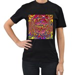 Abstract Shimmering Multicolor Swirly Women s T-Shirt (Black) (Two Sided) Front