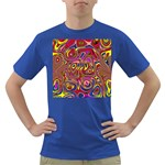 Abstract Shimmering Multicolor Swirly Dark T-Shirt Front