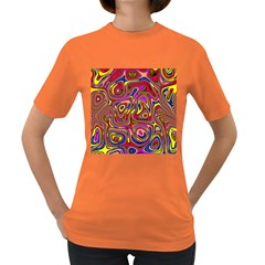 Abstract Shimmering Multicolor Swirly Women s Dark T Shirt