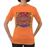 Abstract Shimmering Multicolor Swirly Women s Dark T-Shirt Front