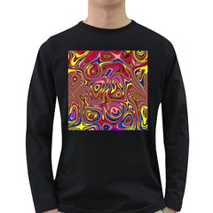 Abstract Shimmering Multicolor Swirly Long Sleeve Dark T Shirts