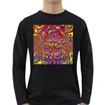 Abstract Shimmering Multicolor Swirly Long Sleeve Dark T-Shirts Front