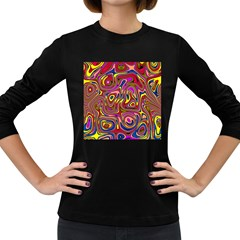 Abstract Shimmering Multicolor Swirly Women s Long Sleeve Dark T Shirts