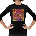 Abstract Shimmering Multicolor Swirly Women s Long Sleeve Dark T-Shirts Front