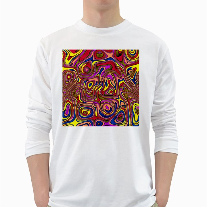 Abstract Shimmering Multicolor Swirly White Long Sleeve T-Shirts