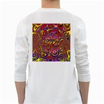 Abstract Shimmering Multicolor Swirly White Long Sleeve T-Shirts Back