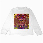 Abstract Shimmering Multicolor Swirly Kids Long Sleeve T-Shirts Front