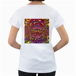 Abstract Shimmering Multicolor Swirly Women s Loose-Fit T-Shirt (White) Back