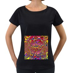 Abstract Shimmering Multicolor Swirly Women s Loose Fit T Shirt (black)