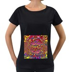 Abstract Shimmering Multicolor Swirly Women s Loose-Fit T-Shirt (Black) Front