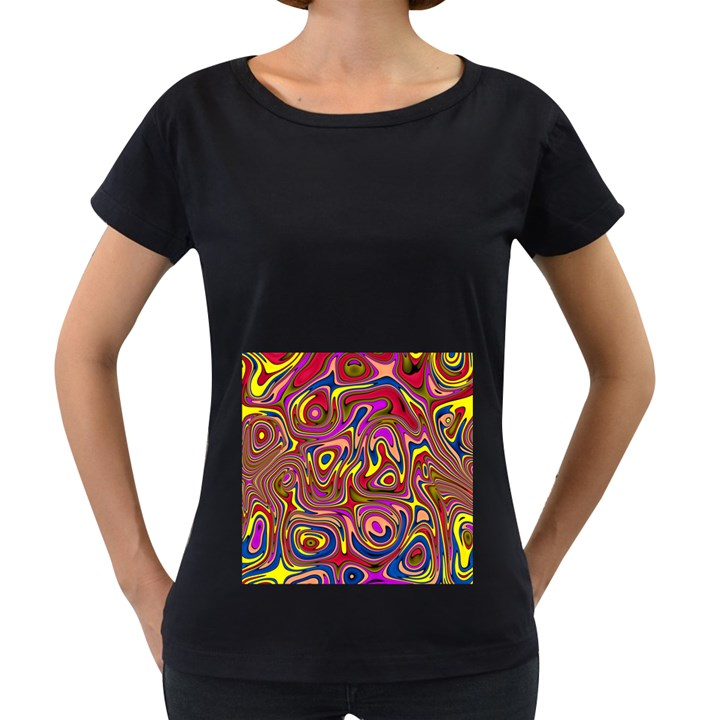 Abstract Shimmering Multicolor Swirly Women s Loose-Fit T-Shirt (Black)