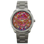 Abstract Shimmering Multicolor Swirly Sport Metal Watch Front