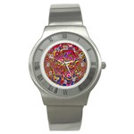 Abstract Shimmering Multicolor Swirly Stainless Steel Watch Front